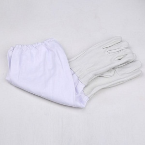 Beekeeping equipment white sheep leather beekeeping gloves for sale